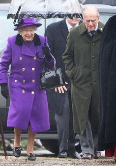 On the mend: The Queen was joined by Prince Philip as she attended church in the village of Flitcham, on the edge of the Sandringham estate in Norfolk this morning