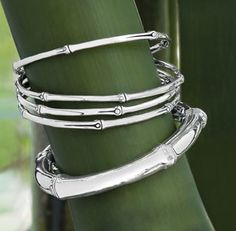 Sterling silver bamboo bangles