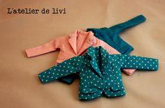 americana de algodón estampado o liso forrado de la misma tela, hecho a mano, tres modelos a elegir. muñeca y accesorios no incluidos, solo