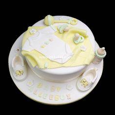 Unisex baby shower accessories cake by bbkakes Cake Decorating Designs, Cake Designs, Decorating Ideas, Unisex Baby Shower Cakes, Fondant Baby, Shower Accessories, Baby Cakes, Awesome Cakes, Baby Grows