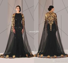 Black Arabic Muslim Evening Dresses Tulle Cloak Gold And Black Sequins Crew Neck 2016 Plus Size Mermaid Formal Wear Long Pageant Prom Dress Online with $145.63/Piece on Sweet-life's Store | DHgate.com