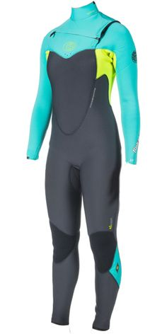 2014 15 Ripcurl Womens 4 3MM Flashbomb Chest Zip Wetsuit in Turquoise Wsm4fg - Ladies 4mm - 4mm