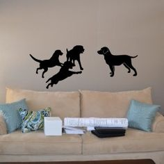 Dog Friends Wall Decal  Modern decor ideas can give your living space a contemporary look without too much effort. The Dog Friends Wall Decal is a wonderful wall décor accessory that's loaded with liveliness and novelty. It is ideal for the children's room, junior class rooms and spaces where an animal theme décor is desired.  MEDIUM :- 48 X 20 - IN INCHES LARGE   :- 60 X 24 - IN INCHES