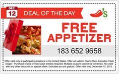 FREE Appetizer at Chili's Today on http://www.icravefreebies.com/