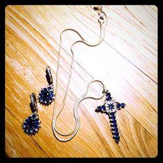 BLUE CRYSTAL SILVER CROSS NECKLACE & EARRINGS Necklace and earring set. Deep blue crystals. .925 ss . Jewelry