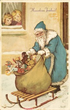 Joulukortti vuodelta 1929. Christmas Cards, Xmas, Old Postcards, Scandinavian Style, Diy Projects, Painting, Art, Museums, Christmas E Cards