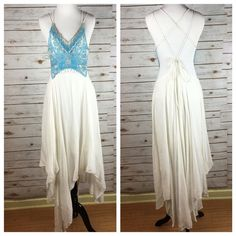 """[Free People] Turquoise Spirit Boho Maxi Dress NWT Stunning, breezy bohemian maxi dress from Free People. Intricate beaded and fringed bodice. Handkerchief hemline. I can totally picture this at a beach wedding. Spaghetti straps with adjustable tie at back. Cutout on front and sides. Partially lined.  Color: Ivory  Fabric: Shell & Trim are 100% Nylon. Lining is 100% Rayon Size: 4 Bust: Approximately 15"""" (Adjustable) Waist: 15"""" Length: From shoulder 44"""" - 60"""" Condition: NWT! No flaws.  No…"""