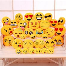 Algodón de LOS PP de Cartón Smiley Cojines 32 cm Coche QQ Almohada Decorativa Emoticonos Para Viajar 20 travesseiro Disponibles(China (Mainland))