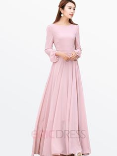Ericdress Ladylike Solid Color Long Sleeve Maxi Dress Maxi Dresses