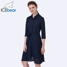 ICEbear 2017 Women Elegant Solid Party Dresses Sexy Casual Shirt Dress Long Sleeve Chiffon Summer Casual Tops 2008D //Price: $59 & FREE Shipping //     #ootd