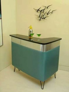 The only thing our basement still needs is a bar :) Mid-century retro blue cocktail bar.I could fill this with my retro bar ware! Mid Century Bar, Mid Century Decor, Mid Century House, Mid Century Style, Mid Century Modern Design, Mid Century Modern Furniture, Home Bar Furniture, Retro Furniture, Farmhouse Furniture