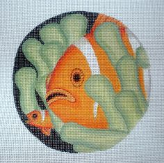 Clownfish Needlepoint Canvas by colors1 on Etsy (Craft Supplies & Tools, Sewing & Needlecraft Supplies, Canvas & Stitchables, pattern, ornament, fish, clownfish, anenome, ocean, tropical fish, decoration, home decor, cross stitch, embroidery, pillow)