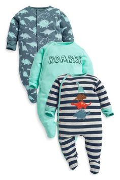 Very cute baby clothes on this website!!! And affordable!! Buy Three Pack Dino Sleepsuits (0mths-2yrs) online today at Next: United States of America