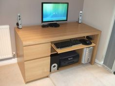 Marvelous Computer Desk With Drawer Designs Inspiration : Wonderful Wooden White IKEA Corner Computer Desk with Drawers Design and Grey Wall Painting for Home Office Furniture Ideas Small Computer Desk Ikea, Computer Desk Design, Small Office Desk, Wood Office Desk, Computer Desks For Home, Desks For Small Spaces, Home Desk, Home Office, Design Desk