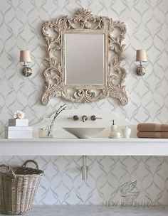 Wall behind mirror - powder room -- Sophie, a stone waterjet mosaic backsplash shown in Calacatta Tia polished and Thassos honed, is part of the Silk Road Collection by Sara Baldwin for New Ravenna Mosaics. Decor, Powder Room Decor, Room Design, Interior, Mosaic Backsplash, Powder Room Design, Home Decor, Beautiful Bathrooms, Bathroom Inspiration