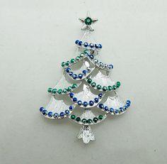 Christmas Tree Brooch Pin Enamel Silver Tone Signed