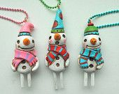 Pink Snowman polymer clay Necklace
