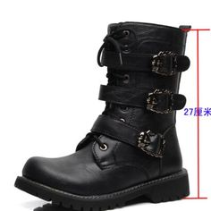 British Style Wear Thread Rock Punk Emo Zip Non Slip Korean Belt Individuality Cowboy Mens Winter Chukka Boots Round Toe Funky
