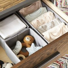 Canvas Grey Drawer Organizers at Crate and Barrel Canada. Kids Storage Bins, Kids Clothes Storage, Kids Clothing Rack, Storage Baskets, Nursery Storage, Bathroom Storage, Nursery Organization, Closet Organization, Organizing