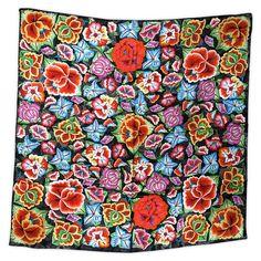 "Pineda Covalin ""Tehuana Flowers"" Multicolor Silk Scarf"