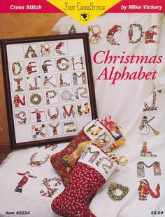 Christmas Alphabet - (Cross Stitch) Find your next Christmas design at Cobweb Corner. Save 20% off your first order with coupon WELCOMECC  #crossstitch #christmas #cobwebcorner