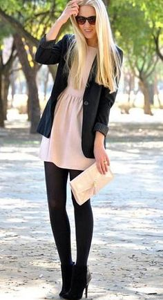 love the light pink dress with black tights and black heels... take off the jacket and add a chunky necklace and it'd be perfect!