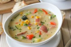 Potato Corn Zucchini Chowder - This veggie-loaded chowder is so rich, hearty and satisfying, perfect for chilly nights!