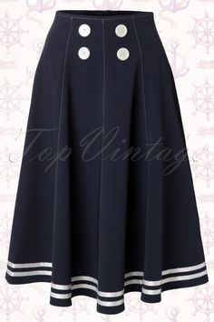 Miss Candyfloss ~ 50s Mollys Sailor Skirt Ahoy Navy