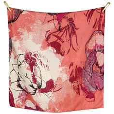 FLOWER ME SOFTLY silk scarf | Dusty Coral/Pink/Grey size 70x190cm, in 100% Silk Twill with rolled hand stitched edges #aw16 #floral #red #orange #pink #art #print