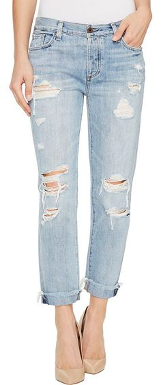 Lucky Brand Sienna Slim Boyfriend in Rainfall with Destruction (Rainfall/Destruction) Women's Jeans - Lucky Brand, Sienna Slim Boyfriend in Rainfall with Destruction, 7W13534-440, Apparel Bottom Jeans, Jeans, Bottom, Apparel, Clothes Clothing, Gift - Outfit Ideas And Street Style 2017