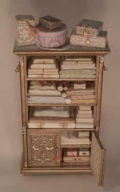 lori ann potts miniatures | Filled Linen Cabinet by Lori Ann Potts | Dollshouse: Cabinet / linnen ...
