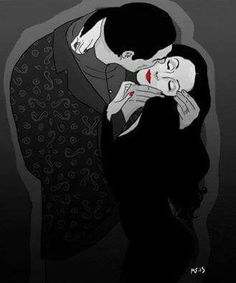 """I would die for her. I would kill for her."""" Gomez and Morticia as Gustav Klimt's The Kiss."""