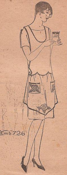 Free Sewing Patterns Aprons | Vintage 1920s BIB APRON Sewing Pattern FLAPPER Era Antique Criss Cross ...