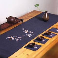 Hand-embroidered linen tea ceremony Chinese tea mat table runner cotton curtain Zen tea ceremony shipping parts