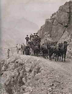 The Million Dollar Highway is a section of U.S. Route 550 in Colorado from Silverton to Ouray. The photo shows the old Million Dollar Highway route before it was built.