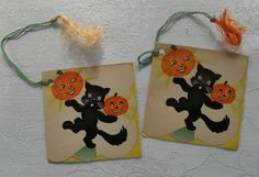 Vintage Halloween Ephemera ~ Black Cat & Jack O' Lantern Bridge Tally Cards by Dennison * Circa, 1930s