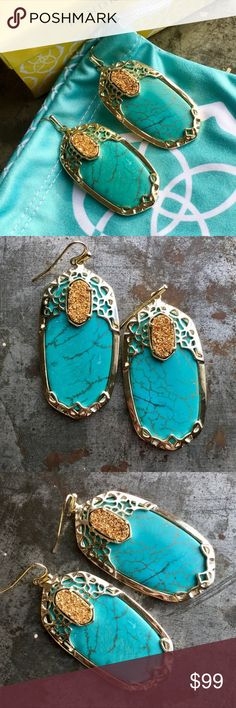 Kendra Scott Deva earring Turquoise Drusy Danielle Absolutely stunning Kendra Scott Deva earrings in turquoise and copper drusy in a light gold setting. Come with dust bag and box! Gently worn a couple of times- no tarnishing etc. Kendra Scott Jewelry Earrings