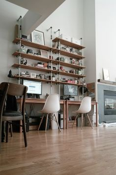 My home. Industrial pipe shelves. San Francisco loft.