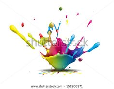 abstract illustration of a colorful ink splash - stock photo