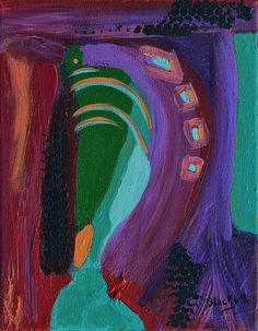 """""""Internal Cry"""" abstract art painting by Donna """"Blacky"""" Blackhall 8x10 $75.00"""