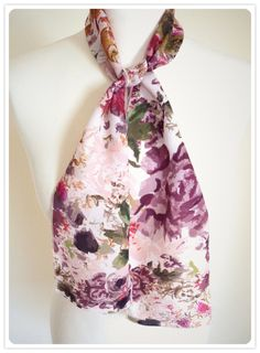 Floral Silk Scarf Neck Tie Hand Painted by louisetaylordesigns, £10.00 #floral #silk #scarf #handpainted #floralprint #pink #rose #mauve