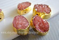 24k Gold Plated Druzy quartz Bezel Pendant in red by excellentgem, $9.95