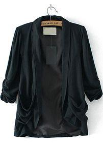 Black Lapel Pleated Pockets Loose Blazer