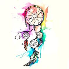 Watercolor Dreamcatcher Tattoo Design