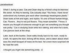 Someone please write a fic with this in it. This would be the perfect start for Destiel I mean it's so innocent and so like Cas to do that. Love this idea so much Supernatural Ships, Destiel Headcanon, Johnlock, Dean And Castiel, Cockles, Super Natural, Superwholock, Winchester, Squirrel