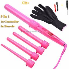 Pro 1 Pcs Pink 5 In 1 Hair Wand For Lady DIY Hairstyling, Digital Ceramic Hair Curler In 5 Tubes For Different Curls With Box