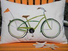 Outdoor pillow beach cruiser BOY VERSION your color by crabbychris, $38.00