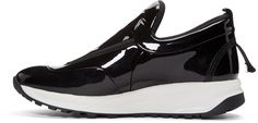 Maison Margiela: Black Patent Leather Sneakers   SSENSE