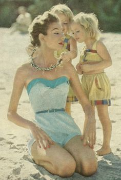 Mom & Daughters at the beach, 1954