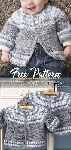 Crochet Baby Boy Sweater Pattern Ideas For 2019 Crochet Baby Cardigan Free Pattern, Crochet Baby Jacket, Crochet Baby Sweaters, Baby Sweater Patterns, Baby Patterns, Crochet Clothes, Free Crochet, Crochet Gifts, Free Baby Crochet Patterns